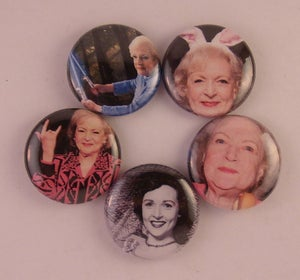 """Image of 5 - 1"""" Betty White buttons, magnets, flatbacks, or keychains."""