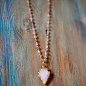 Image of Rose quartz Arrow necklace + pink Amethyst rosary