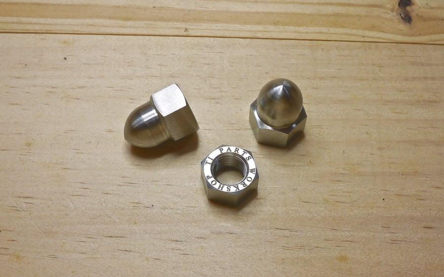 Image of Ti Parts Workshop 1/2 Speed Rear Wheel Titanium Cap Nut Set