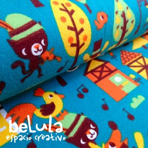 Image of Tela algodón elástico jersey: Músicos animales