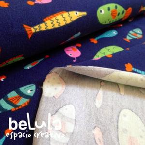 Image of Tela algodón elástico jersey: Peces