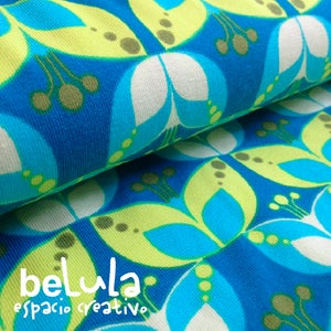 Image of Tela algodón elástico jersey: Flores nórdicas