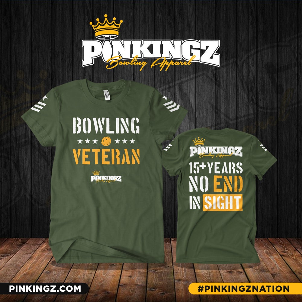 Image of Pinkingz Bowling - Bowling Veteran T-Shirt | Military Green