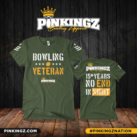 Image of Pinkingz Bowling - Bowling Veteran T-Shirt | Military Green