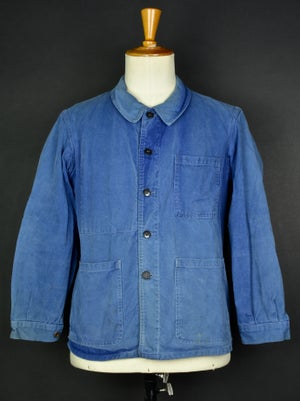 Image of 1950'S FRENCH blue indigo WORK JACKET FADED N36 フレンチコットンワークジャケット