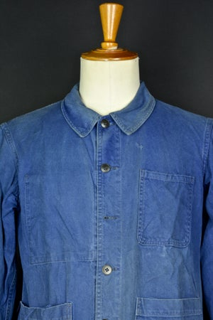 Image of 1950'S FRENCH blue indigo WORK JACKET FADED N37 フレンチコットンワークジャケット