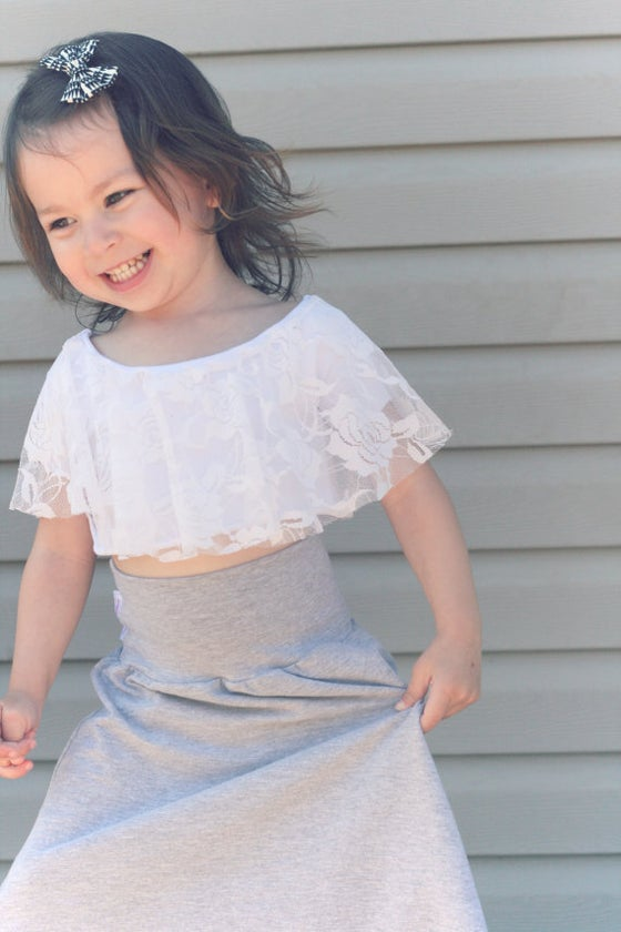 Image of Toddler Crop Top - White Lace - Cotton Jersey - Sizes 1 year to 5 years