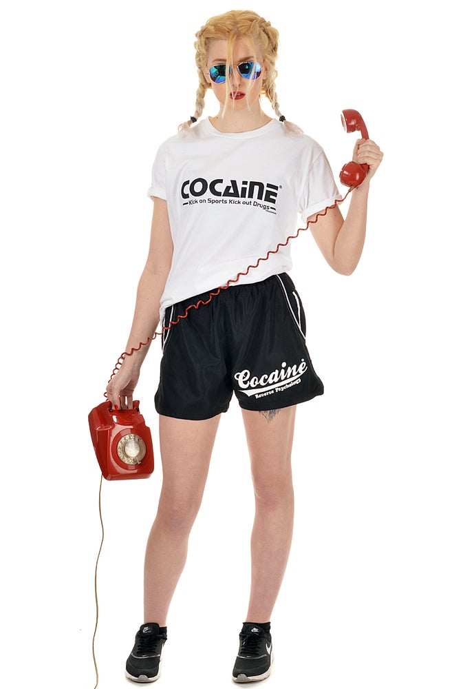 Image of Cocaine Fitness Tee Kick on Sports Kick out Drugs
