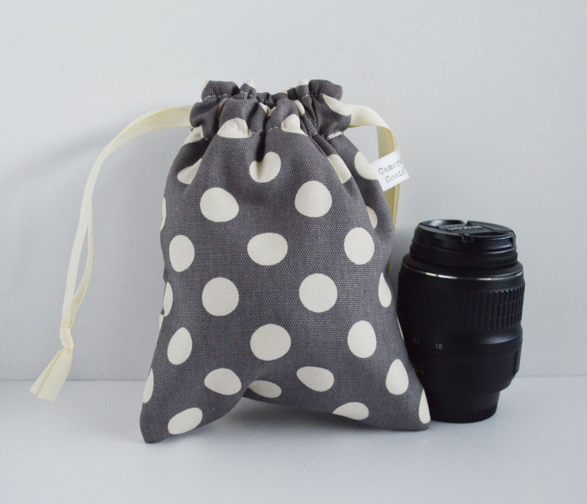 Image of Best Camera Bag of 2019 PLUS FREE matching strap | Water Repellent Gray Polka Dot