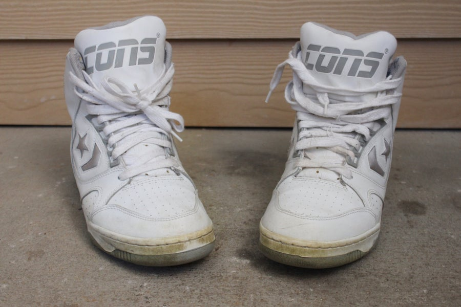 "Image of Rare 1992 Vintage ""CONVERSE CONS"" - Official Shoe Of The NBA - High Top Basketball Sneakers Sz: 9"