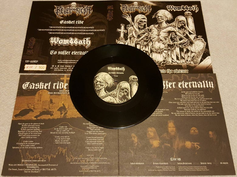 "Image of Pre-order - ""Dragged Into The Obscure"" - Wombbath - Revel in Flesh split (Black)"