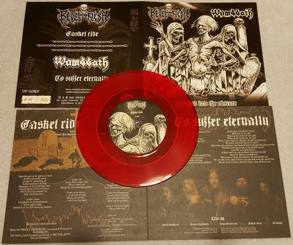 """Image of Pre-order - """"Dragged Into The Obscure"""" - Wombbath - Revel in Flesh split (Red)"""