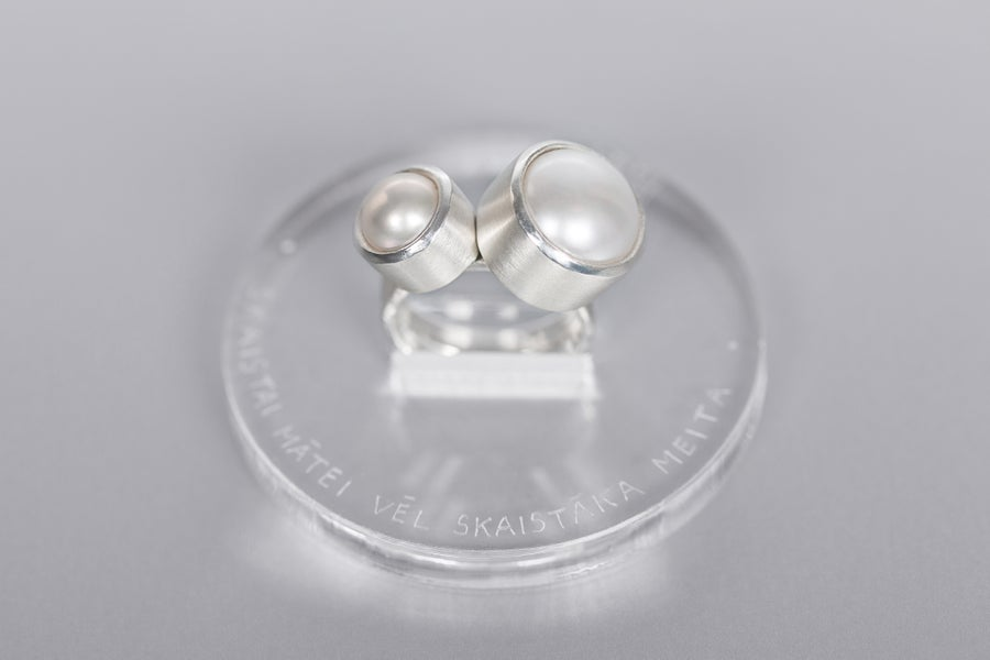 Image of silver rings with pearls MATRE PULCHRA FILIA PULCHIOR
