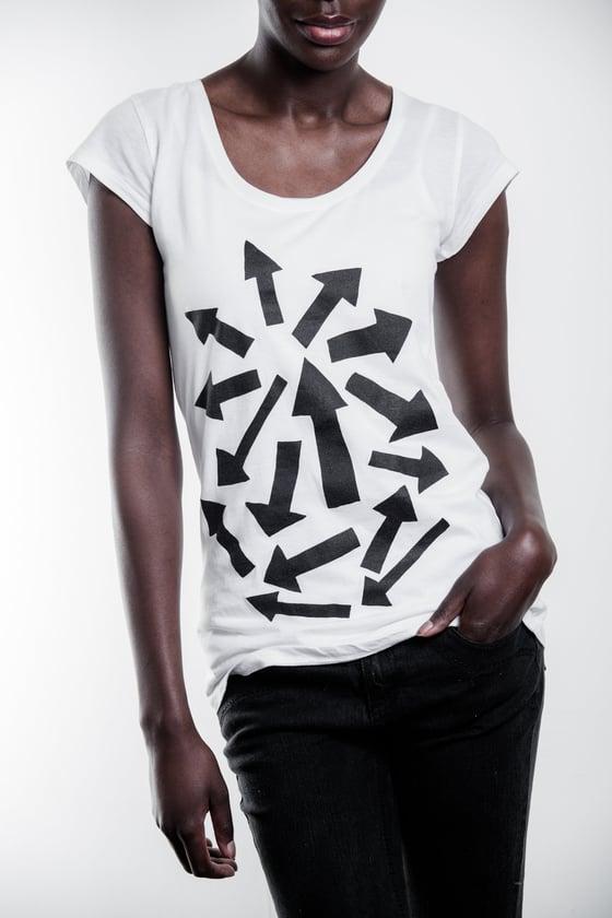 Image of Black Arrows Print on White Tee