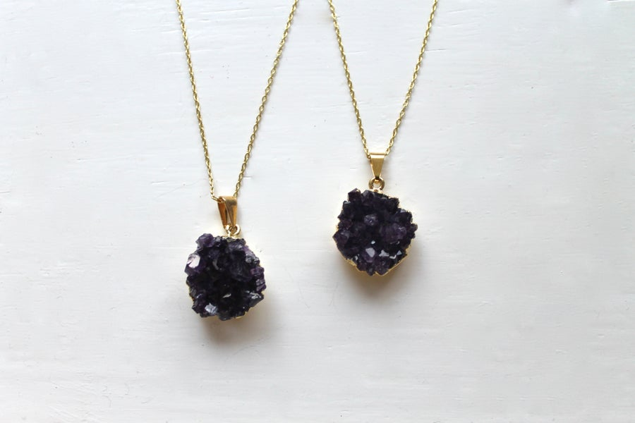 Image of Gold Dipped Amethyst Druzy Necklace (Originally $44)