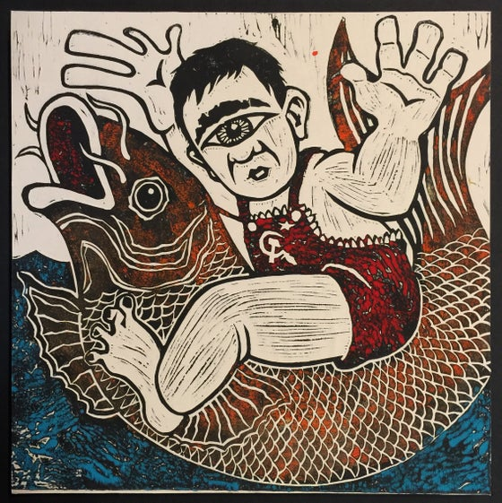 Image of Chi-com Carp Ride Punchline - Linocut Print