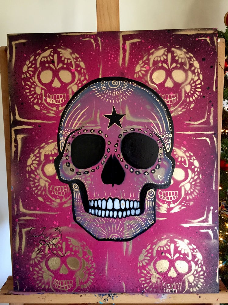 Image of  ☠ Original Pink & Gold Skull Painting  ☠