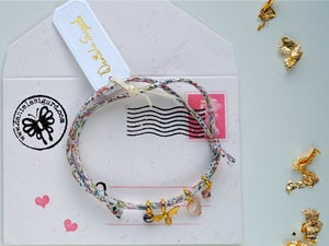 Image of Bee and heart Liberty print bracelet
