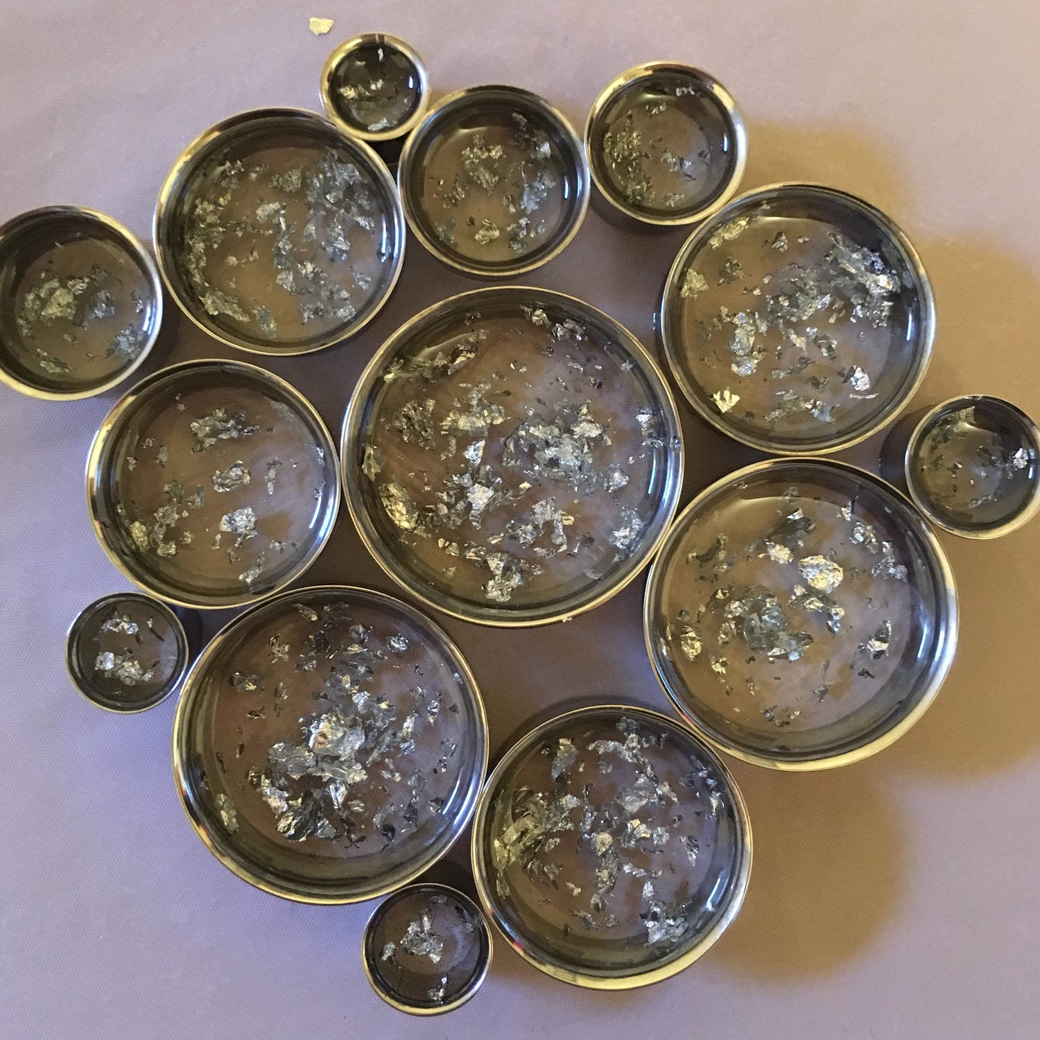 "Image of Silver Flake Plugs (sizes 0g-2"")"