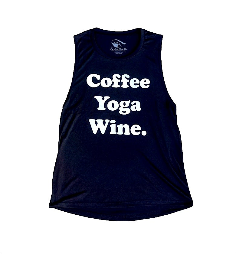 Image of COFFEE, YOGA, WINE ® - Ladies Flowy Tank (Black)