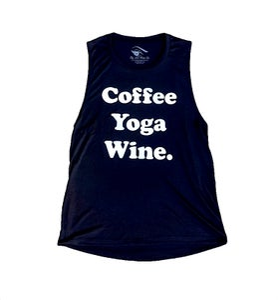 Image of COFFEE, YOGA, WINE ® - Ladies Flowy Tank (Black)