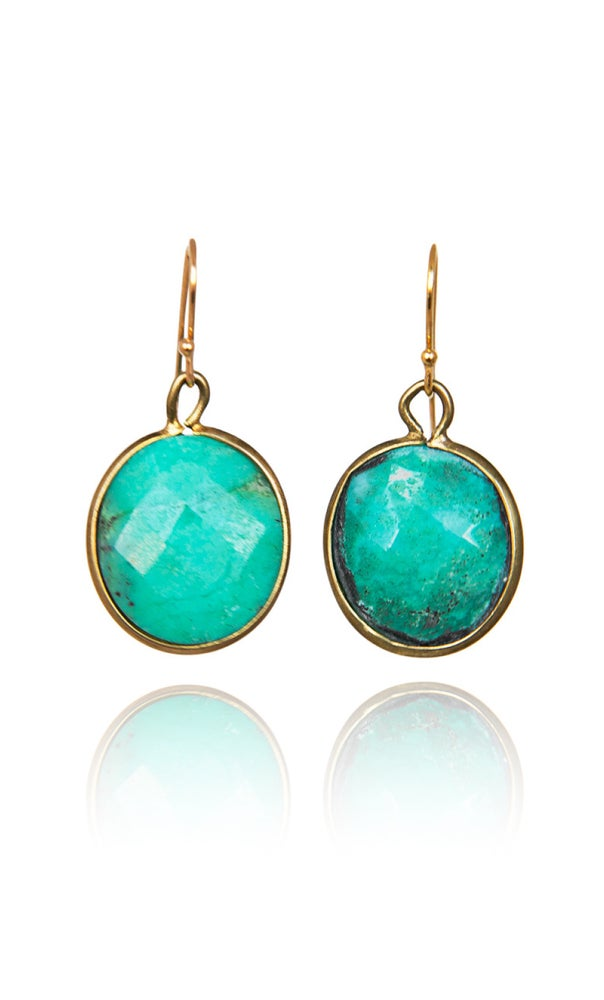 Image of Pair of stonependant earrings Green Onyx