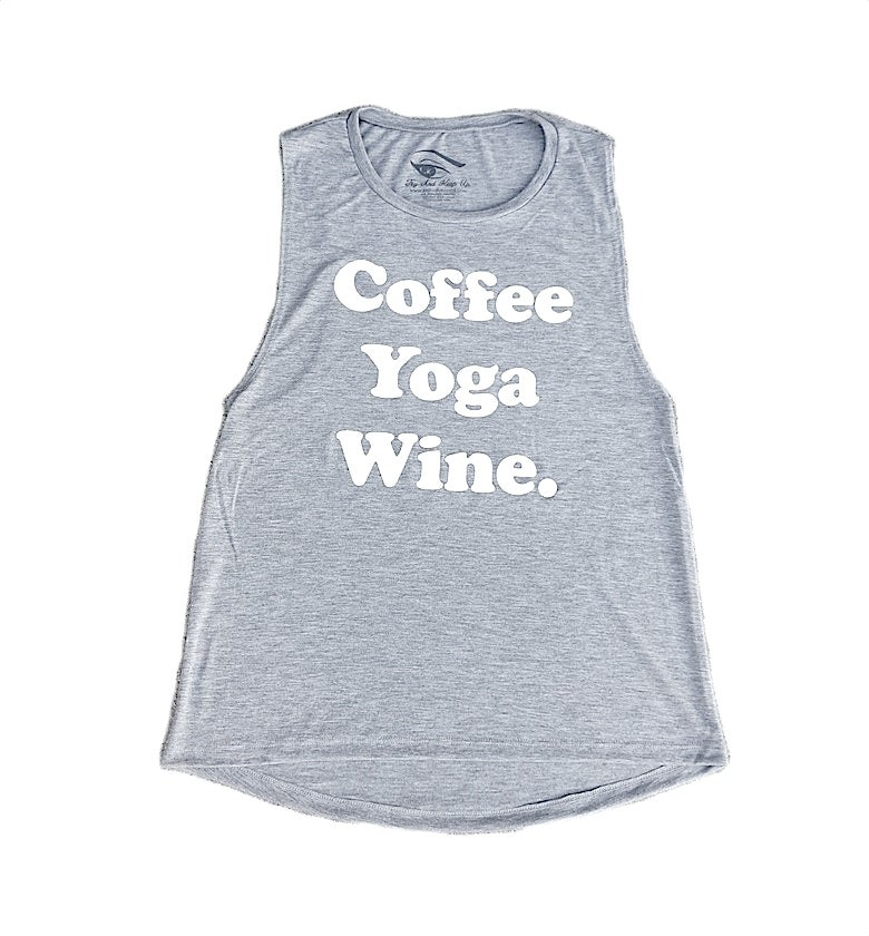 Image of COFFEE, YOGA, WINE ® - Ladies Flowy Tank (Athletic Heather Grey)