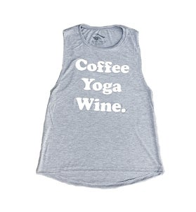 Image of COFFEE, YOGA, WINE ® - Ladies Flowy Tank (Athletic Heather Grey)