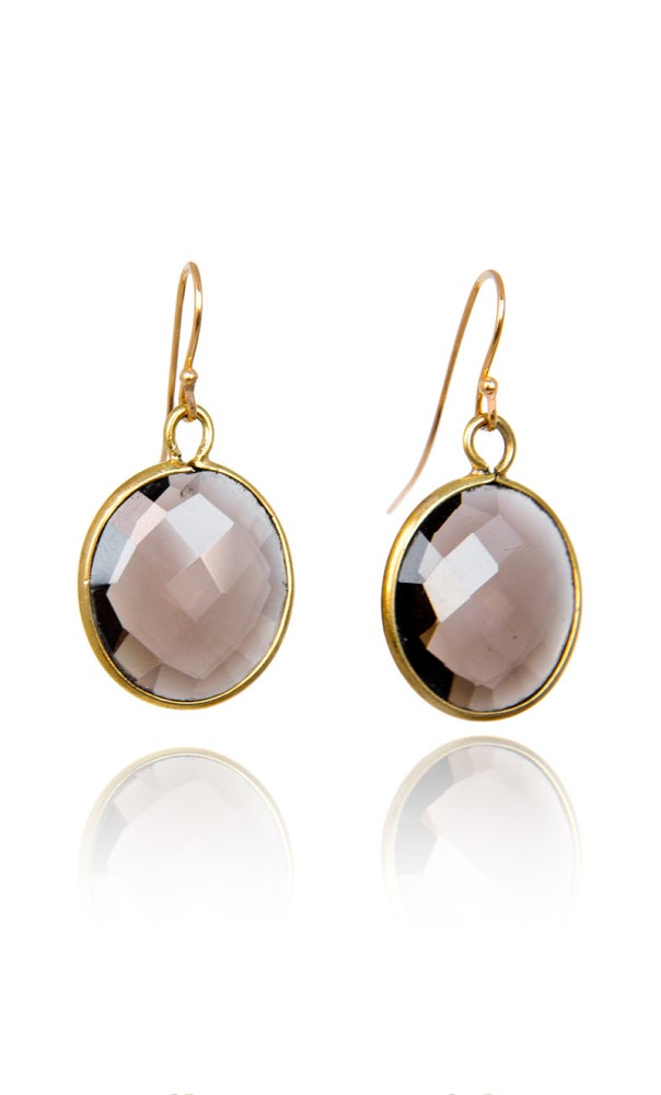 Image of Pair of stonependant earrings Smokey Quartz