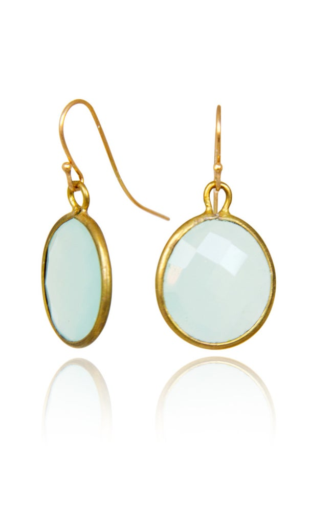 Image of Pair of stonependant earrings Aqua Kelsey