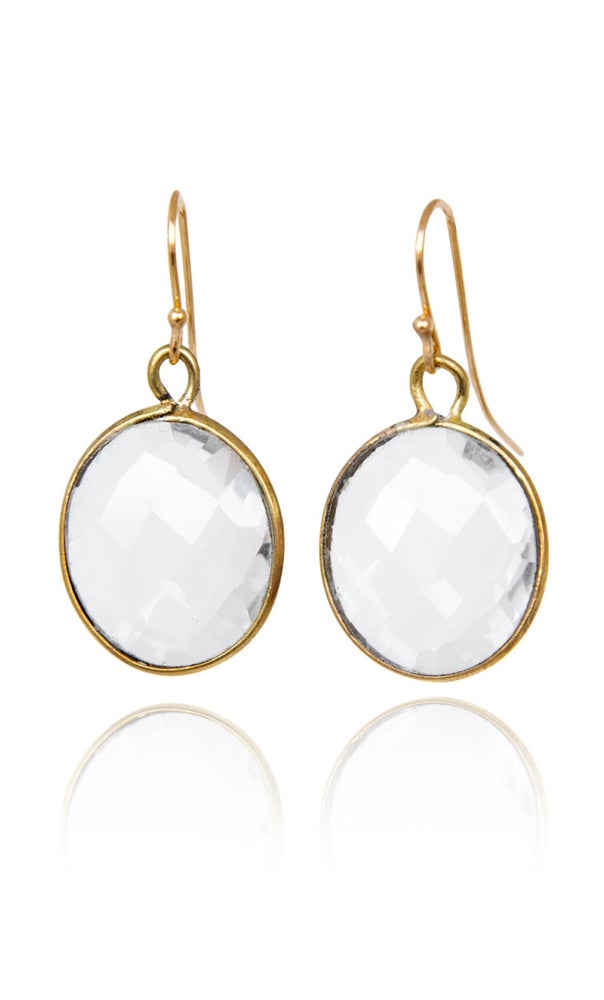 Image of Pair of stonependant earrings Clear Quartz