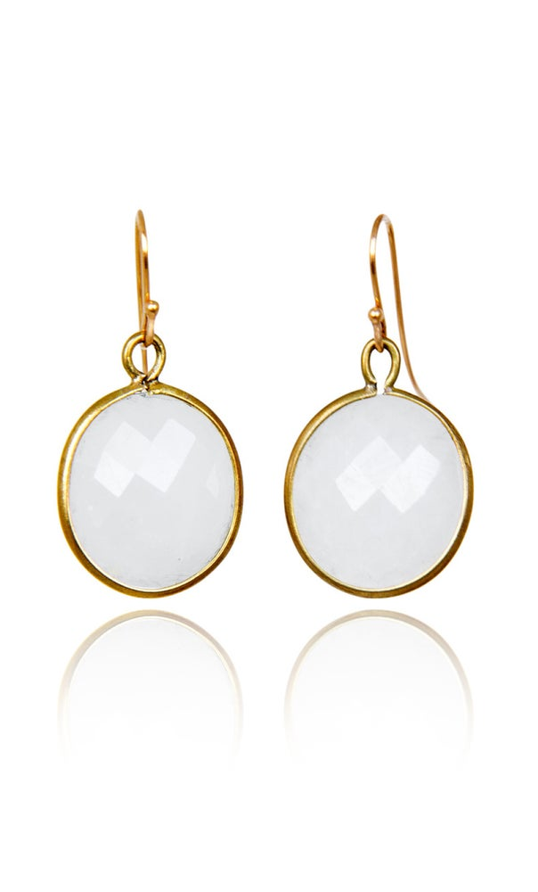 Image of Pair of stonependant earrings Moonstone