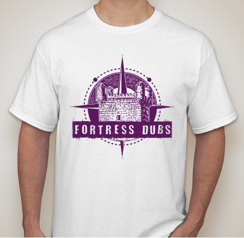 Image of WHITE W/PURPLE Fortress Dubs Logo Tee