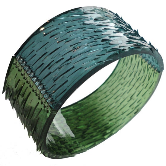 Image of skin deep bangle - green + dark ocean blue