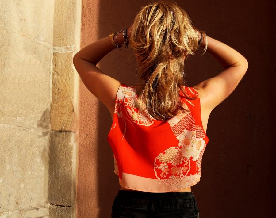 Image of Vintage Orange Silk Crop Top