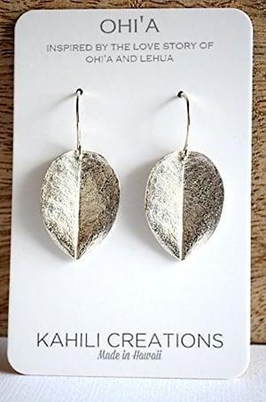 Image of Medium ohi'a leaf earrings