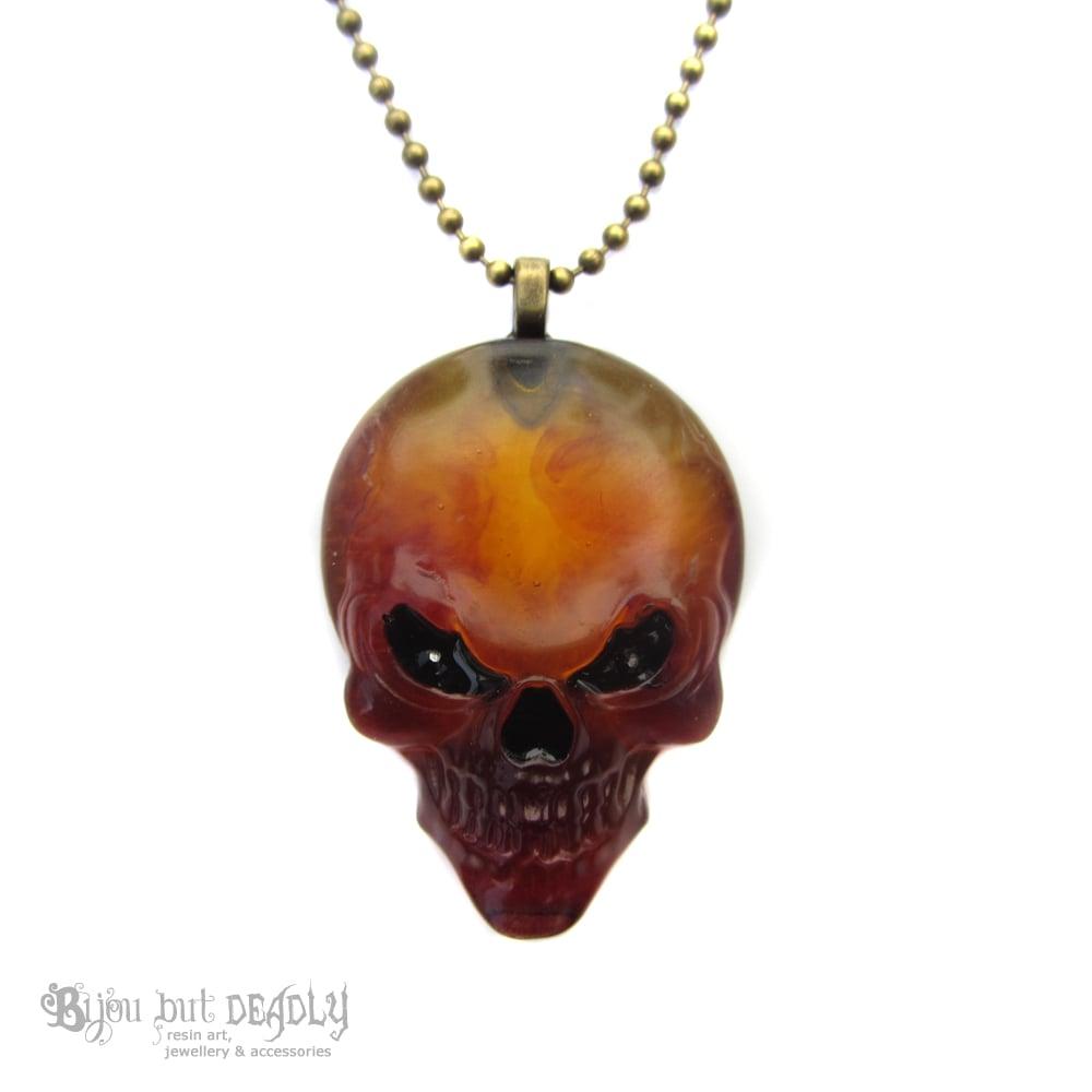 Amber Resin Evil Skull Pendant
