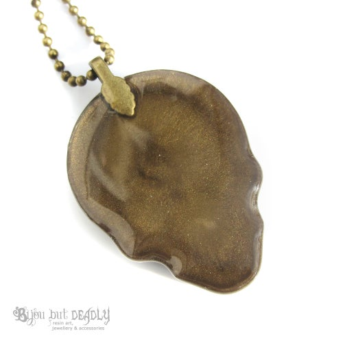 Image of Bronze Zebra Stripe Resin Skull Necklace