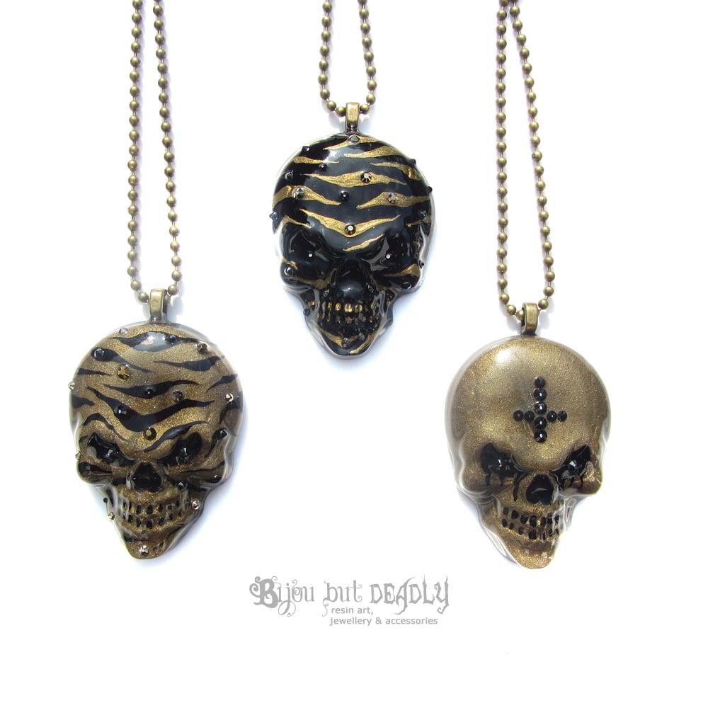 Bronze Zebra Stripe Resin Skull Necklace