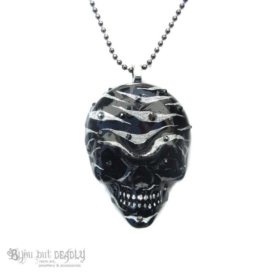 Image of Black/Silver Zebra Stripe Resin Skull Necklace