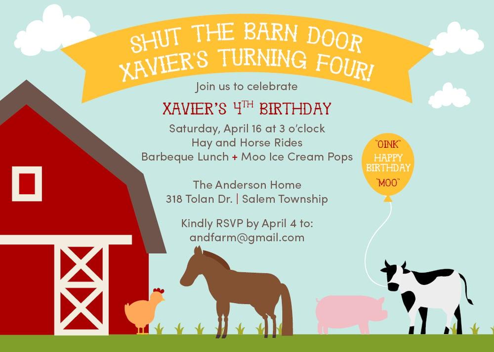 Image of Farm and Animal Invitation