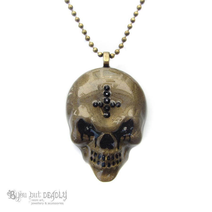 Image of Bronze Resin Evil Skull Necklace