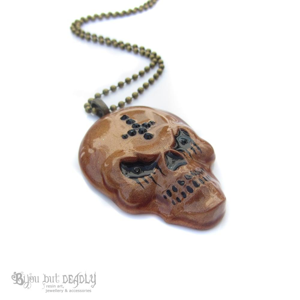 Copper Evil Skull Resin Necklace