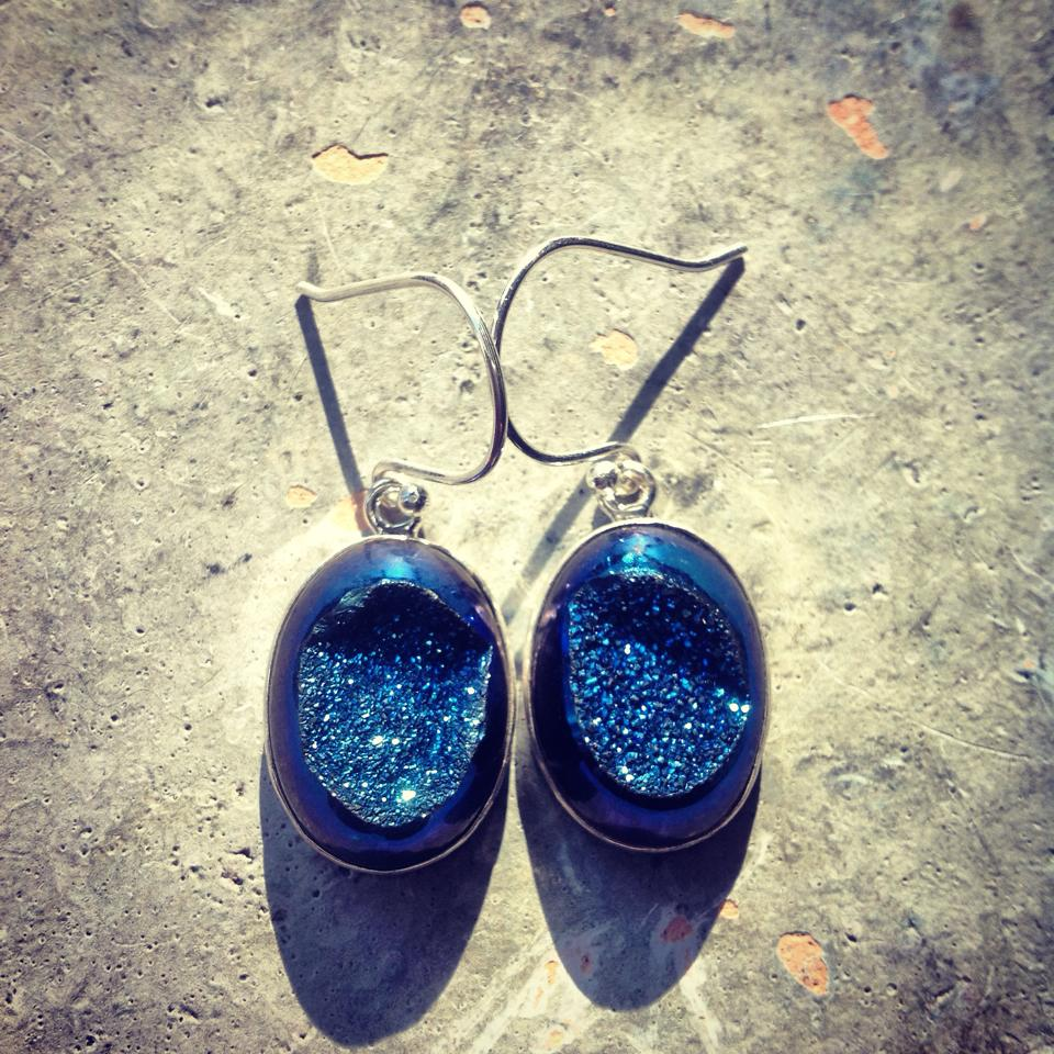 Image of Rainbow Titanium Aura Quartz Earrings