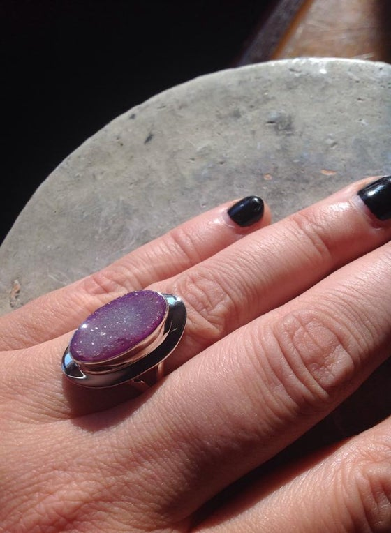 Image of Grounding your Heart to your Root <3 Agate Druzy Ring Sterling Silver