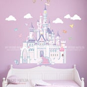 Image of Princess Castle with cute birds large wall decal