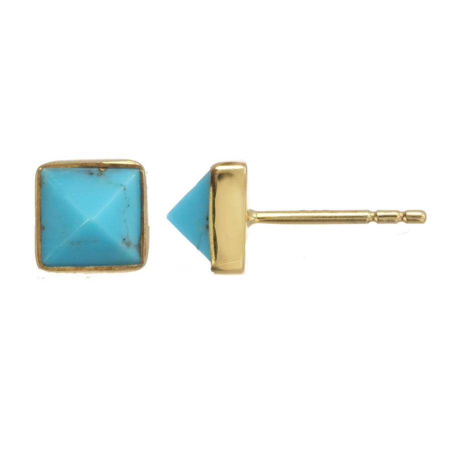 Image of GEMSTONE PYRAMID stud earrings