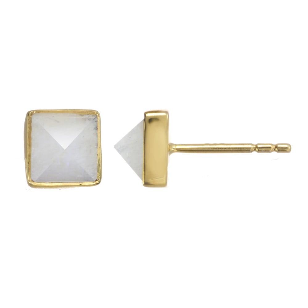 Image of GEMSTONE PYRAMID stud earrings