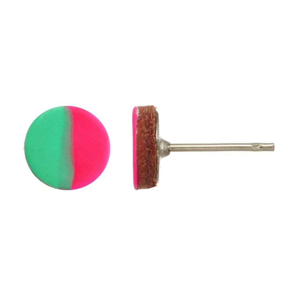 Image of HAND-PAINTED CIRCLE LEATHER stud earrings: colorblock edition