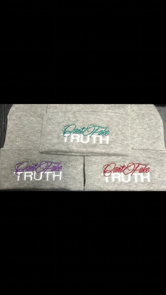 "Image of ""Can't Fake TRUTH"" Beanies (Color options in drop dow menu OR EMAIL TO REQUEST)"